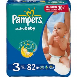 Подг.PAMPERS Active Baby/3/ Midi 4-9 кг /82/ - Бытовая химия, хозтовары оптом от компании Марислав, Екатеринбург