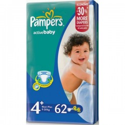 Подг.PAMPERS Active Baby/4+/ Maxi plus 9-16 кг /62/ - Бытовая химия, хозтовары оптом от компании Марислав, Екатеринбург