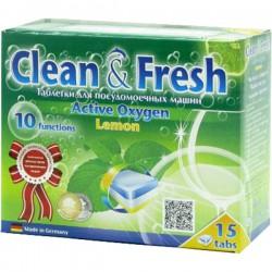 Табл.CLEAN & FRESH/15шт/ Active Oxigen Lemon 5 в 1 - Бытовая химия, хозтовары оптом от компании Марислав, Екатеринбург