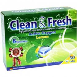 Табл.CLEAN & FRESH/30шт/ Active Oxigen Lemon 5 в 1 - Бытовая химия, хозтовары оптом от компании Марислав, Екатеринбург